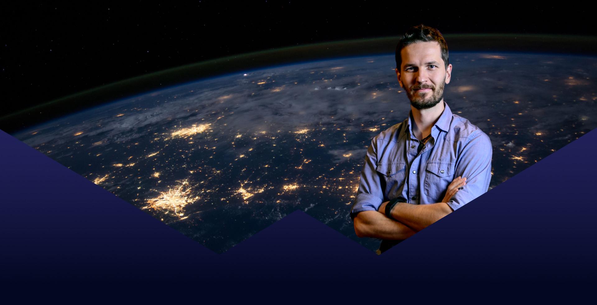 Uomo con sfondo pianeta terra